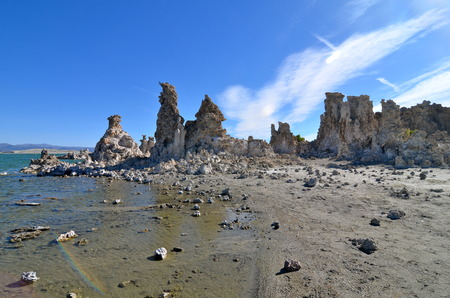 sediments: Tufa spires rising out of Mono Lake, California, USA Stock Photo