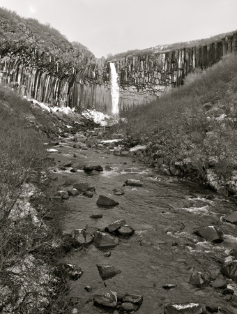 Svartifoss Water in Early Winter, Iceland. photo