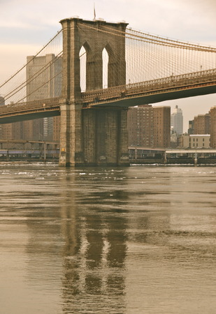 Brooklyn Bridge in the winter, New York City, USA.