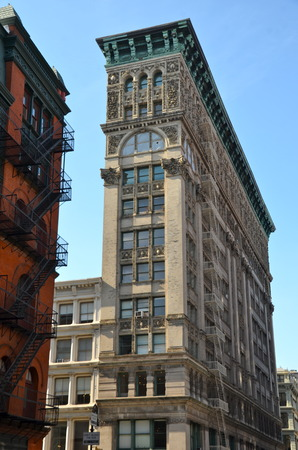 Old building with fire escape, NYC, USA photo