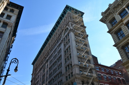 Old building with fire escape, NYC, USA