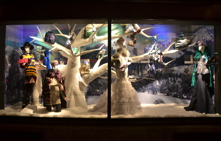 window display: Holiday window display at Bergdorf Goodman in NYC on November 18, 2014.
