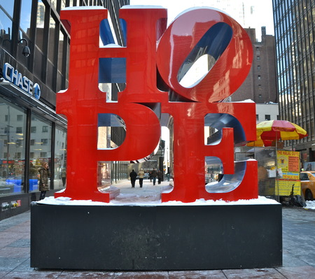 hope: The word HOPE in Manhattan, New york City, USA