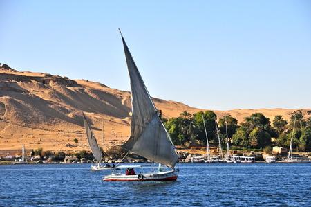 the nile: Sailboats sliding on Nile river, Egypt.