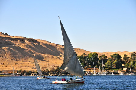 Sailboats sliding on Nile river, Egypt.