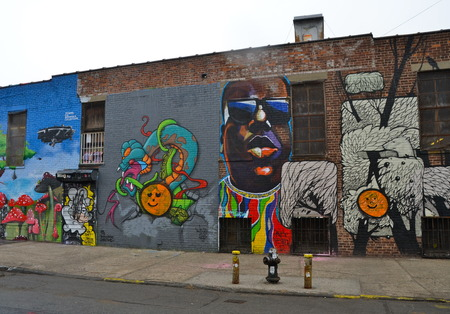 Mural art at East Williamsburg in Brooklyn, NYC. Editorial