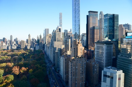 arial views: New York cityscape at Columbus Circle in Manhattan, NYC. USA.