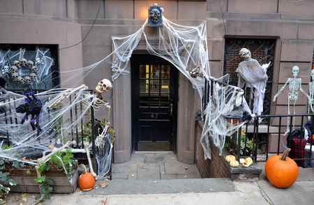 Halloween decorations in Upper West Side, Manhattan, NYC, USA.