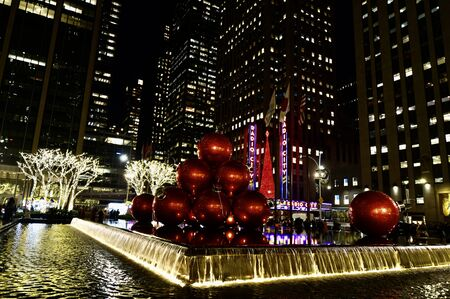 Giant Christmas Ornaments in Manhattan, New York City, USA.