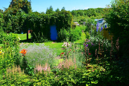 unpretentious: Landscape design. The country house garden can be decorated with different colors which will be during the summer bloom flowers of different colors. It is also possible to plant wildflowers that are unpretentious care Stock Photo
