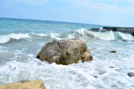 the black sea: Black Sea. Small storm in the Black Sea in Crimea, an exciting spectacle.