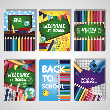 placards: Back to school collection. Colorful collection for banners, flyers, placards with school supplies. Illustration