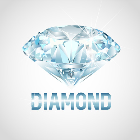 gemstone: Realistic Diamond Stone. Realistic gemstone isolated on a gray background. Diamond. Vector illustration.