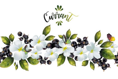 Seamless pattern with flowers and currant with text.