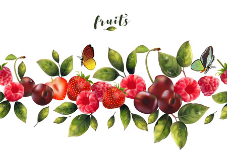Seamless pattern of fruit and berries realistic for your decor.
