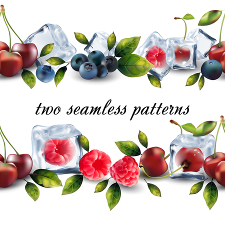Two seamless pattern from fruits.
