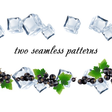 red currant: Seamless patterns with currant and ice. Illustration