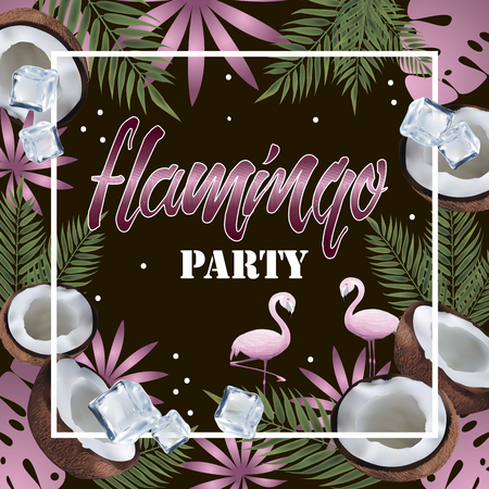 Banner Flamingo Party Stock Vector - 86621567