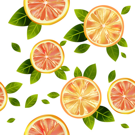 Seamless background with the image of orange and grapefruit on a white background.
