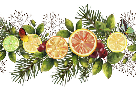 Christmas seamless pattern with spruce branches and citrus for your decor.