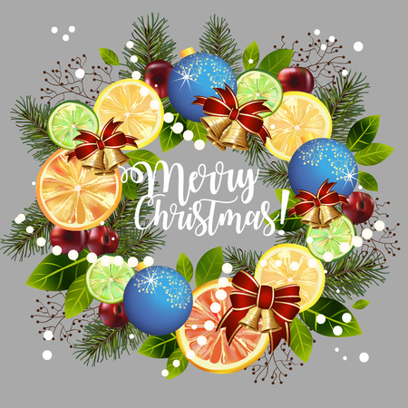 Circular pattern of decorations and citrus on a gray background with Merry Christmas text. Vector illustration.