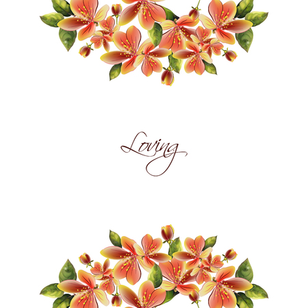 A pattern of spring flowers. Background with text for your creativity.