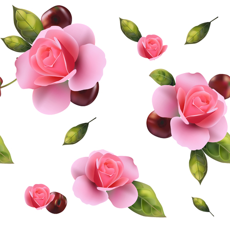 Seamless background with roses.