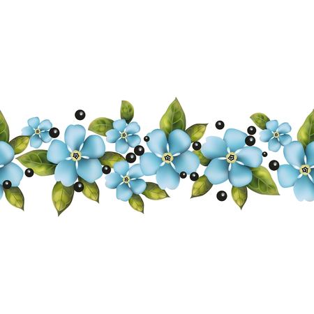 Seamless pattern from blue realistic flowers for your creativity.