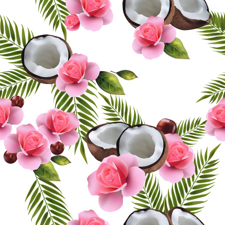 Seamless summer background with the image of coconuts, coconut leaves, flowers.
