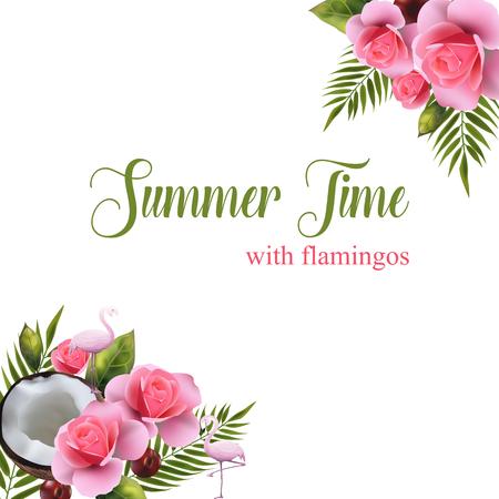 Coconut floral background. Illustration