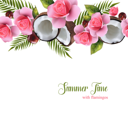 A pattern depicting halves of coconuts, cherries and flamingos. With text on a white background for your creation.