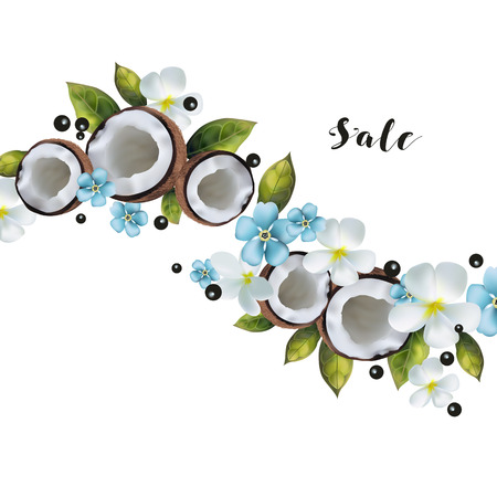 A pattern of coconuts and blue flowers with text.