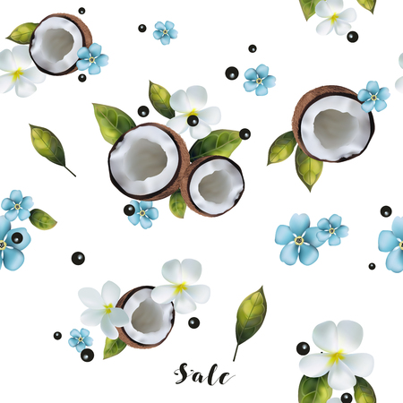 Seamless background with the image of coconuts and blue flowers. Stock Illustratie