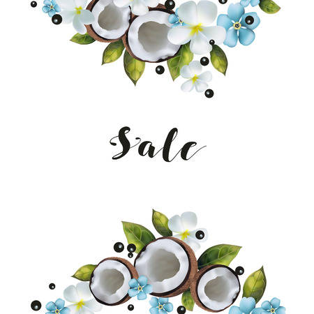 A banner with a picture of coconuts and blue flowers with text. Illustration