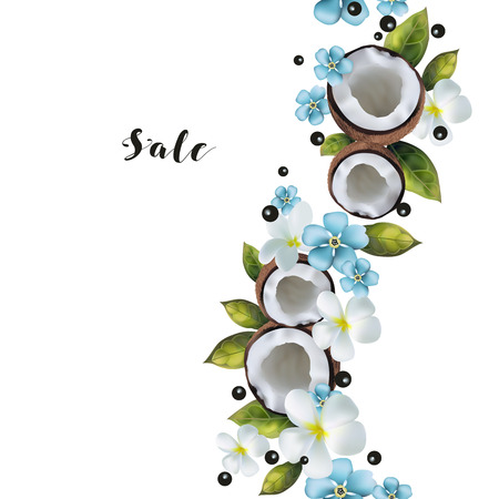 Seamless pattern with the image of coconuts and blue flowers. Illustration
