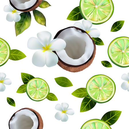 Seamless background with the image of limes and coconuts.
