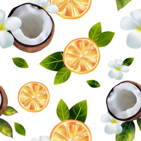 Seamless background with the image of oranges and coconuts.