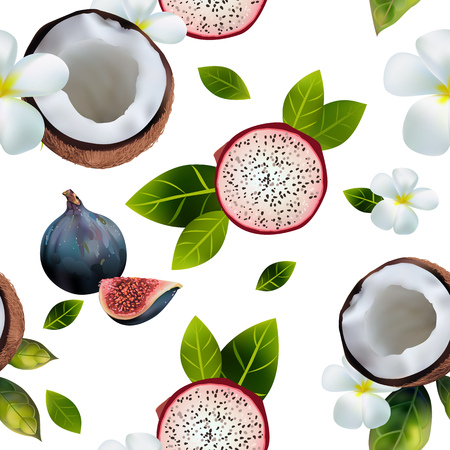 seamless pattern with the image of coconuts, pitahaya halves, figs on a white background decorated with flowers and green leaves