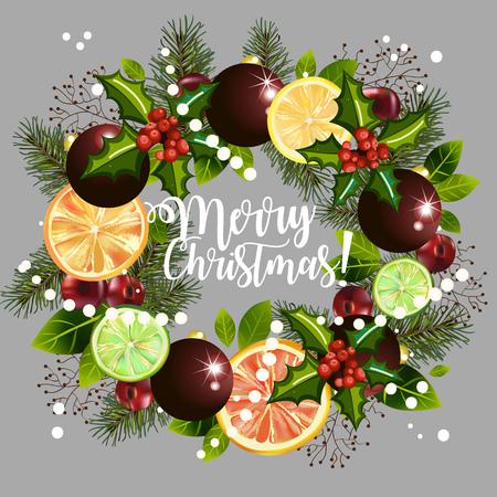 Christmas wreath depicting citruses, plants and decorations. Wreath with text on a gray background.