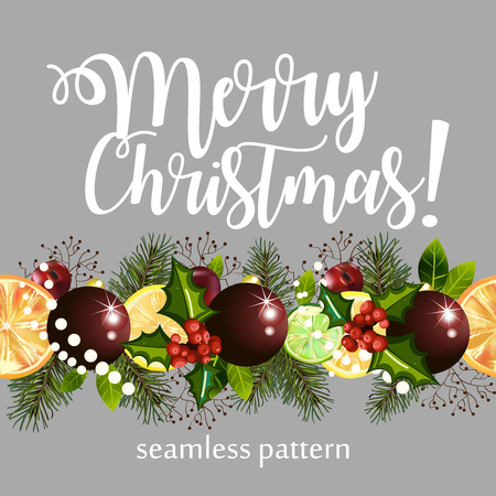 Christmas seamless pattern with the image of citruses, plants and balls. Christmas pattern with text on a gray background. Illustration