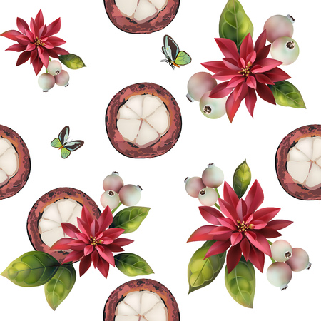 Seamless pattern of fruit on a white background. Image of mangosteen and red flowers.