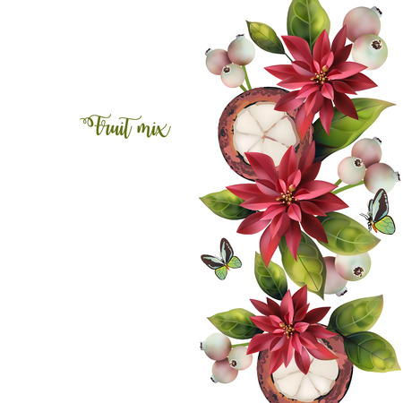 Pattern of mangosteen and red flowers on a white background. Pattern with text.