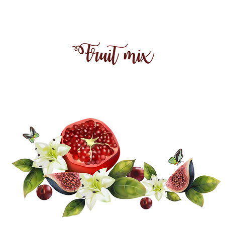 Realistic fruit mix on a white background. Pattern of pomegranate, lilies, figs with leaves and text.