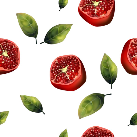 Seamless pattern of realistic pomegranate and leaves on a white background