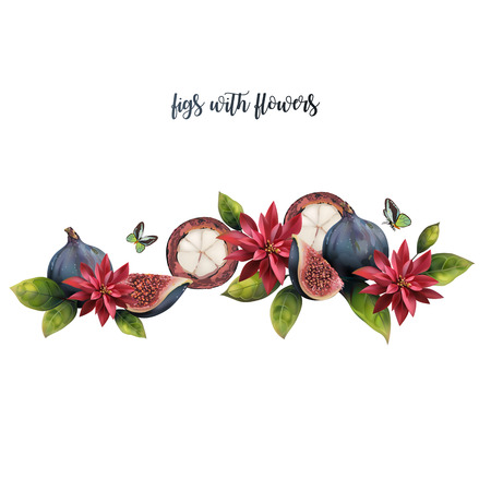 Pattern of fruits on a white background with text. Realistic figs and mangosteen decorated with flowers.