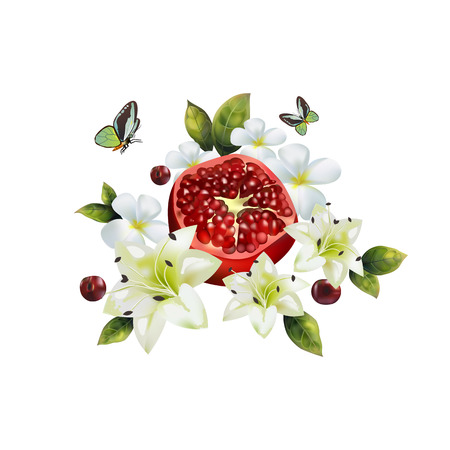 Image of realistic pomegranate with flowers and cherries on a white background.