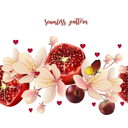 Seamless pattern with realistic pomegranate, cherries, and flowers. Pattern on a white background decorated with hearts