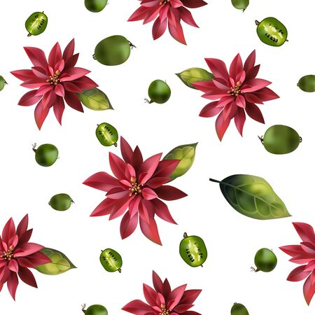 Seamless background with mini kiwi and flowers.