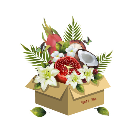 Image of fruits in a box on a white background. Realistic coconut, pomegranate, pitahaya, figs, cherries, palm leaves and flowers. Illustration