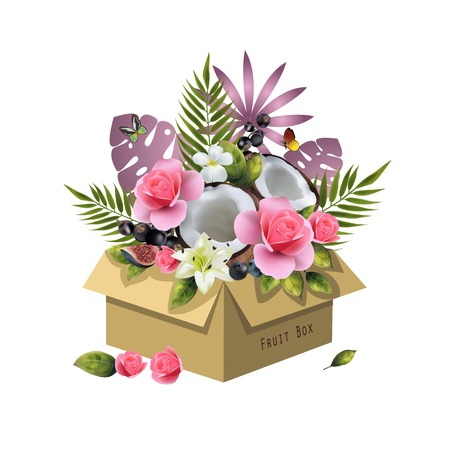 Image of fruits in a box on a white background. Realistic coconut, berries, figs, cherries, palm leaves and pink flowers.